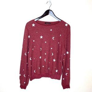 Wildfox Celestial Moon & Stars Pullover Sweatshirt